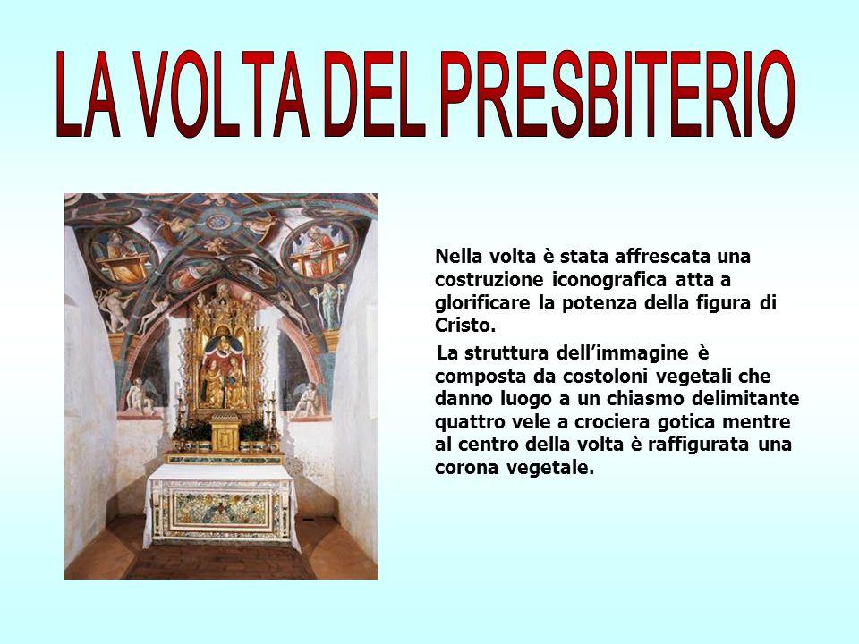 Nella volta è stata affrescata una costruzione iconografica atta a glorificare la potenza della figura di Cristo. La struttura dellimmagine è composta