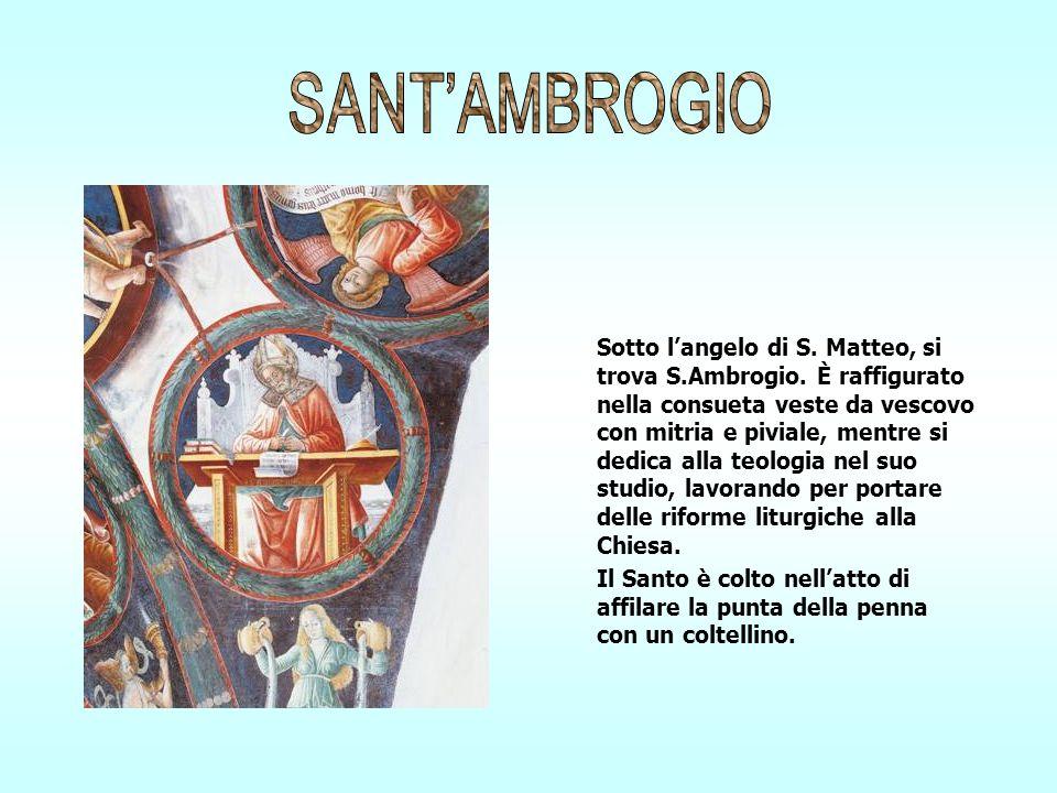 Sotto langelo di S. Matteo, si trova S.Ambrogio. È raffigurato nella consueta veste da vescovo con mitria e piviale, mentre si dedica alla teologia ne