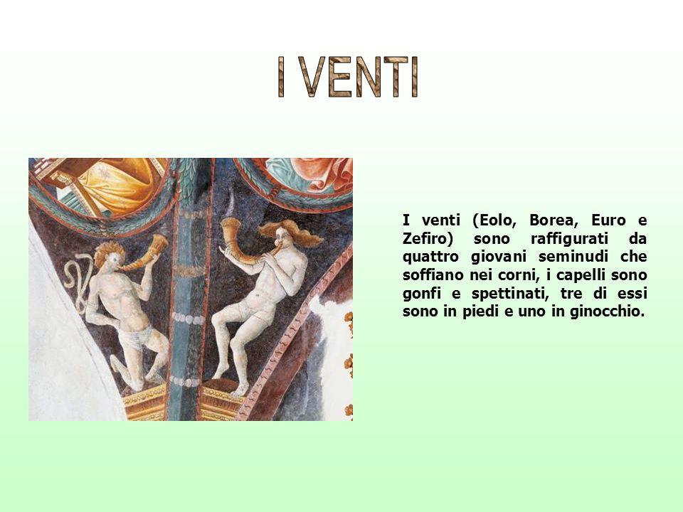 I venti (Eolo, Borea, Euro e Zefiro) sono raffigurati da quattro giovani seminudi che soffiano nei corni, i capelli sono gonfi e spettinati, tre di es