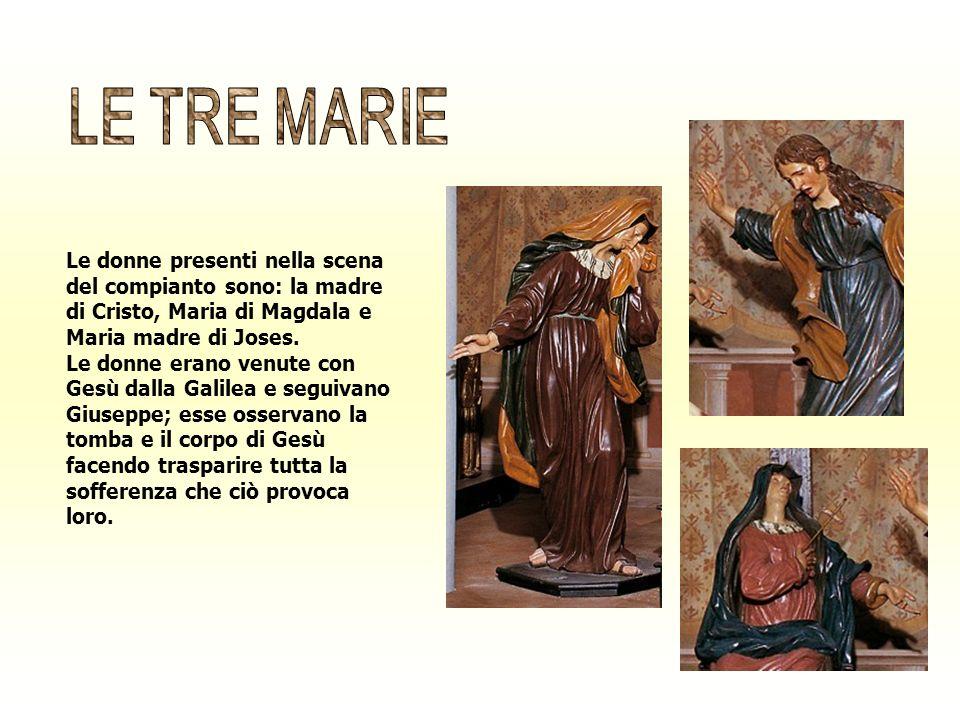 Le donne presenti nella scena del compianto sono: la madre di Cristo, Maria di Magdala e Maria madre di Joses. Le donne erano venute con Gesù dalla Ga