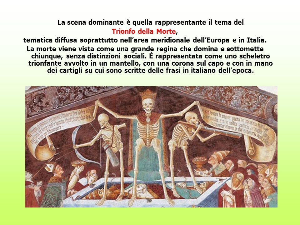 La scena dominante è quella rappresentante il tema del Trionfo della Morte, tematica diffusa soprattutto nellarea meridionale dellEuropa e in Italia.