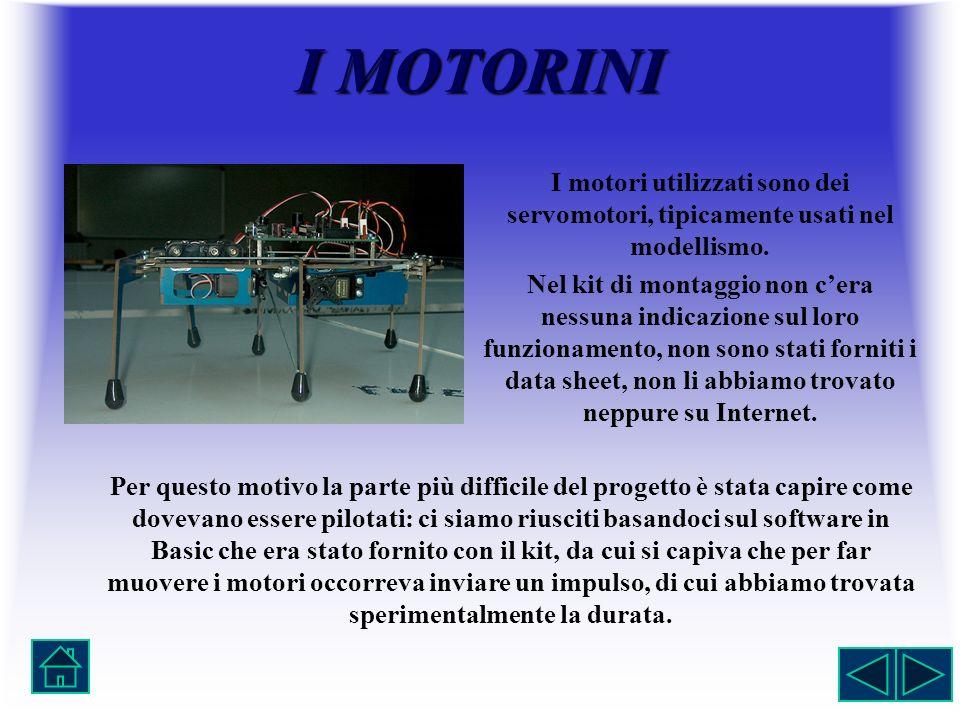 IMOTORINI I MOTORINI I motori utilizzati sono dei servomotori, tipicamente usati nel modellismo. Nel kit di montaggio non cera nessuna indicazione sul