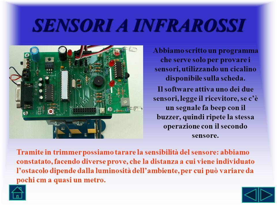 SENSORIAINFRAROSSI SENSORI A INFRAROSSI Abbiamo scritto un programma che serve solo per provare i sensori, utilizzando un cicalino disponibile sulla s