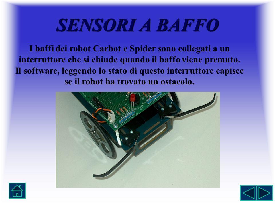 SENSORIABAFFO SENSORI A BAFFO I baffi dei robot Carbot e Spider sono collegati a un interruttore che si chiude quando il baffo viene premuto. Il softw