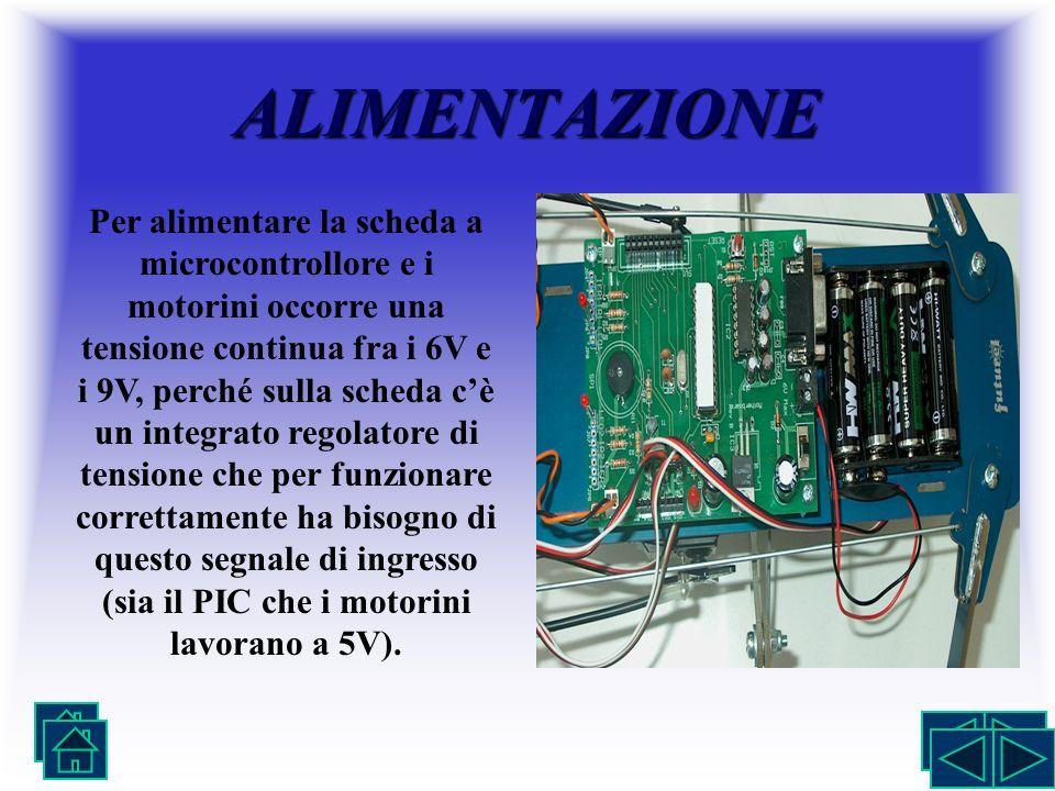 ALIMENTAZIONE Per alimentare la scheda a microcontrollore e i motorini occorre una tensione continua fra i 6V e i 9V, perché sulla scheda cè un integr