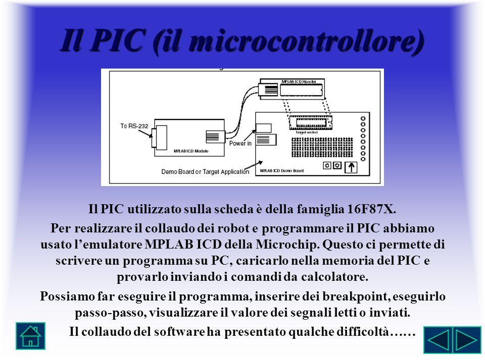 Il PIC (il microcontrollore) Il PIC utilizzato sulla scheda è della famiglia 16F87X. Per realizzare il collaudo dei robot e programmare il PIC abbiamo