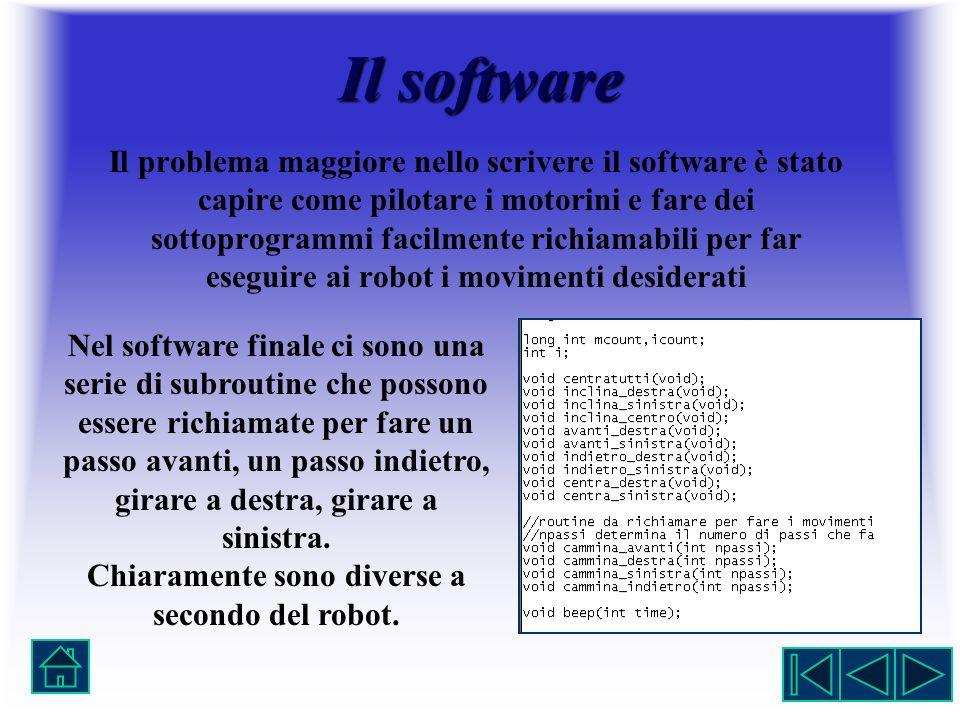 Il software Il problema maggiore nello scrivere il software è stato capire come pilotare i motorini e fare dei sottoprogrammi facilmente richiamabili