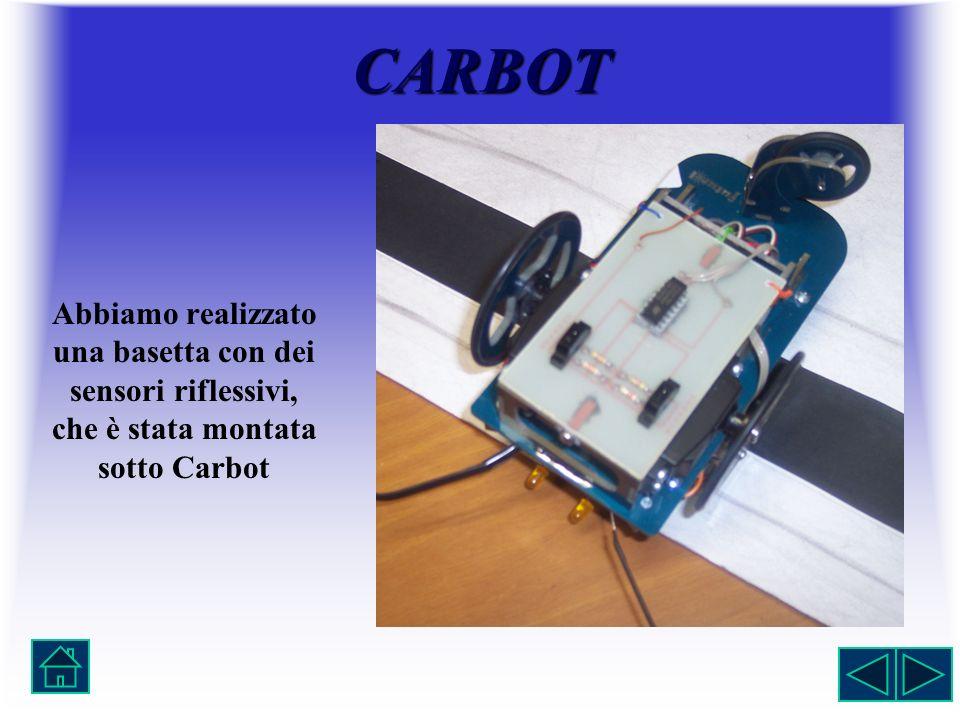 Abbiamo realizzato una basetta con dei sensori riflessivi, che è stata montata sotto Carbot CARBOT