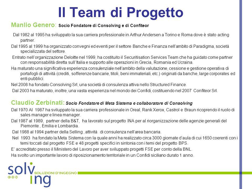 Il Team di Progetto Manlio Genero: Socio Fondatore di Consolving e di Confiteor Dal 1982 al 1995 ha sviluppato la sua carriera professionale in Arthur