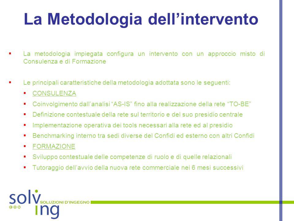 La Metodologia dellintervento La metodologia impiegata configura un intervento con un approccio misto di Consulenza e di Formazione Le principali cara