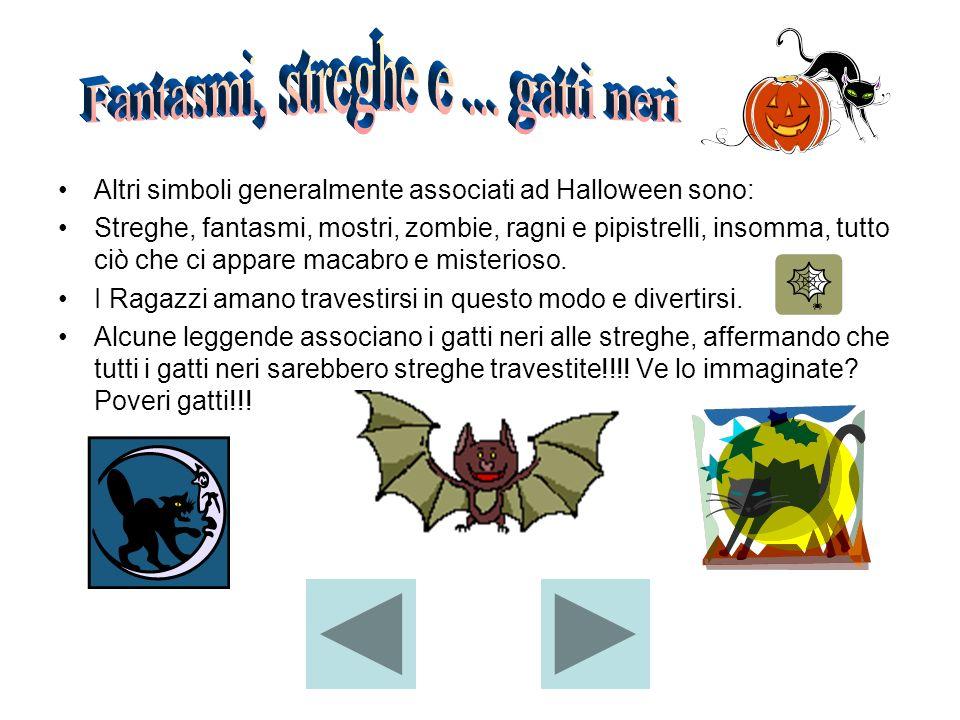 Altri simboli generalmente associati ad Halloween sono: Streghe, fantasmi, mostri, zombie, ragni e pipistrelli, insomma, tutto ciò che ci appare macab