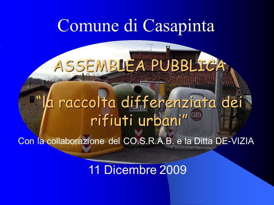 Comune di Casapinta 11 Dicembre 2009 Con la collaborazione del CO.S.R.A.B.