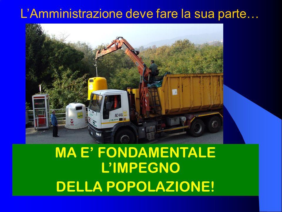 LAmministrazione deve fare la sua parte… MA E FONDAMENTALE LIMPEGNO DELLA POPOLAZIONE!