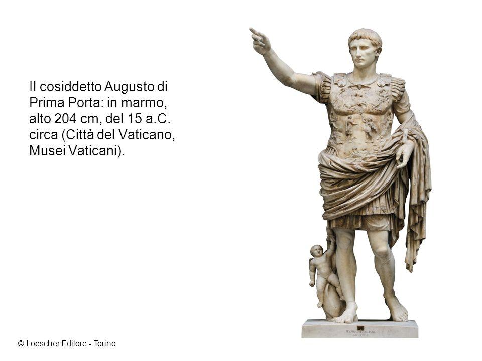Il cosiddetto Augusto di Prima Porta: in marmo, alto 204 cm, del 15 a.C.