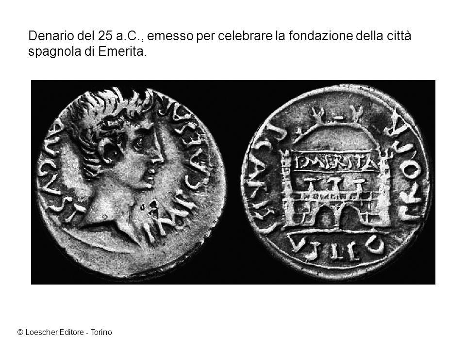 Denario del 25 a.C., emesso per celebrare la fondazione della città spagnola di Emerita.