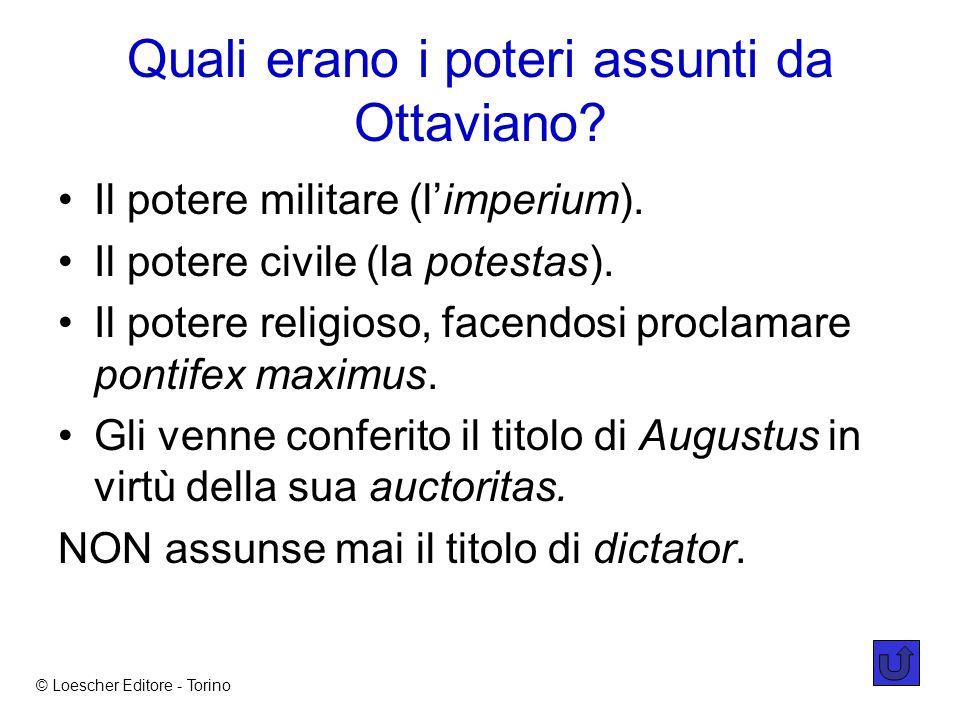 Quali erano i poteri assunti da Ottaviano.Il potere militare (limperium).