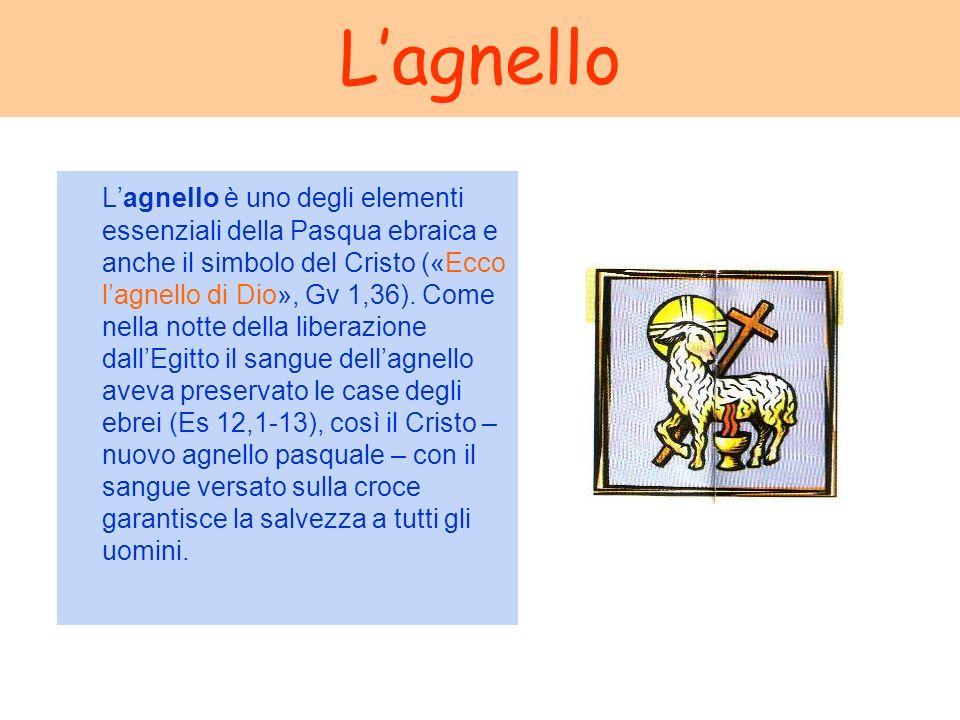 Lagnello Lagnello è uno degli elementi essenziali della Pasqua ebraica e anche il simbolo del Cristo («Ecco lagnello di Dio», Gv 1,36). Come nella not