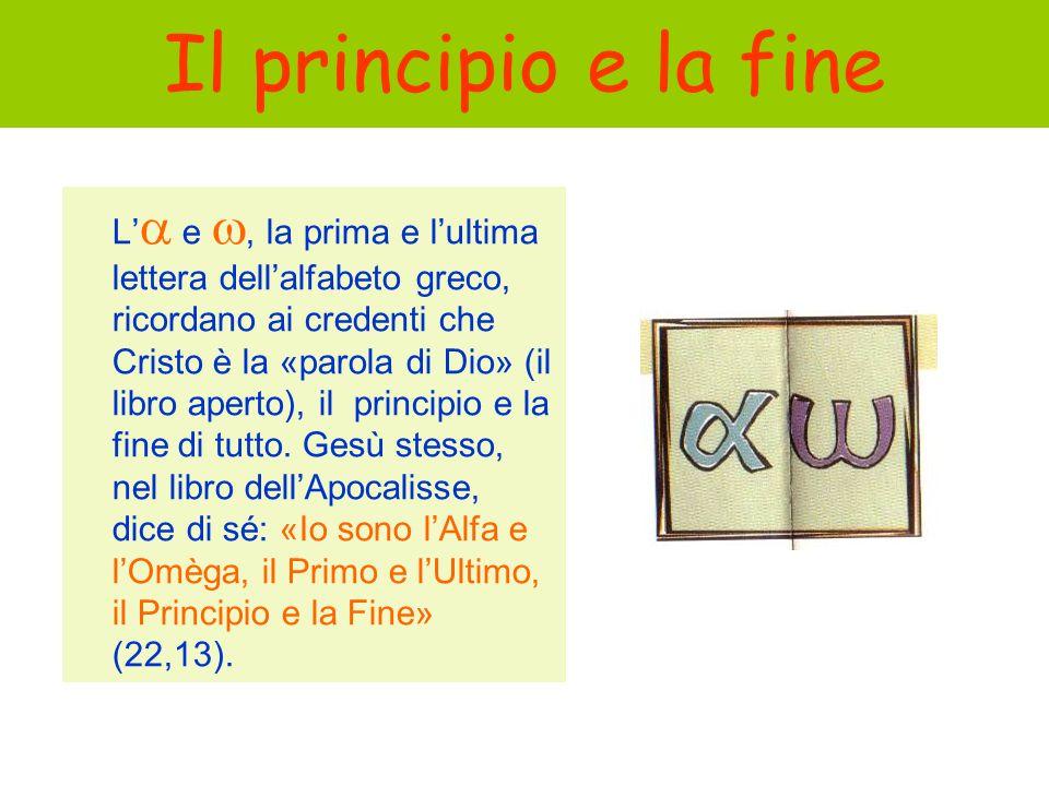 Il principio e la fine L e, la prima e lultima lettera dellalfabeto greco, ricordano ai credenti che Cristo è la «parola di Dio» (il libro aperto), il