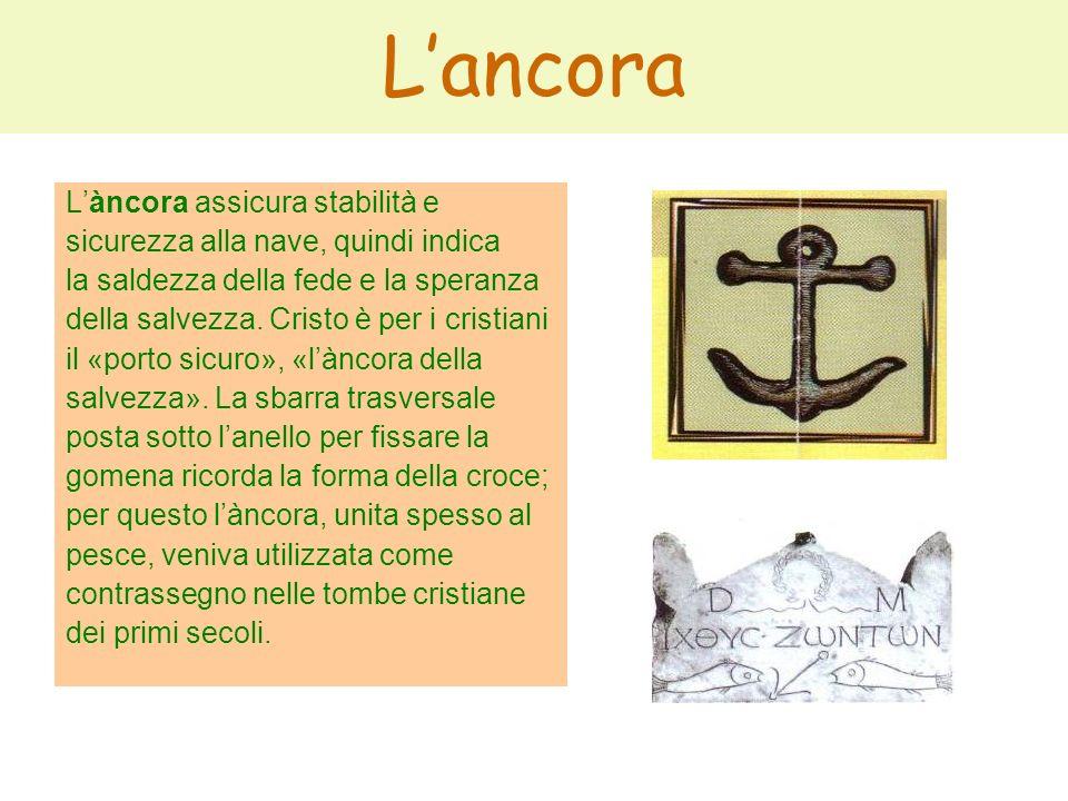 Lancora Làncora assicura stabilità e sicurezza alla nave, quindi indica la saldezza della fede e la speranza della salvezza. Cristo è per i cristiani