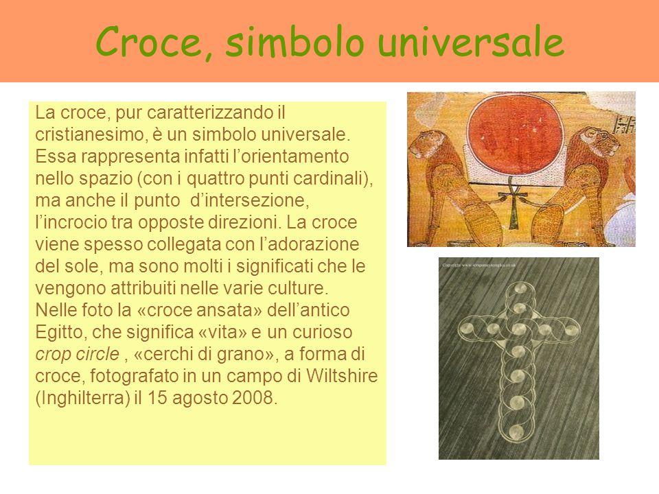 Croce, simbolo universale La croce, pur caratterizzando il cristianesimo, è un simbolo universale. Essa rappresenta infatti lorientamento nello spazio