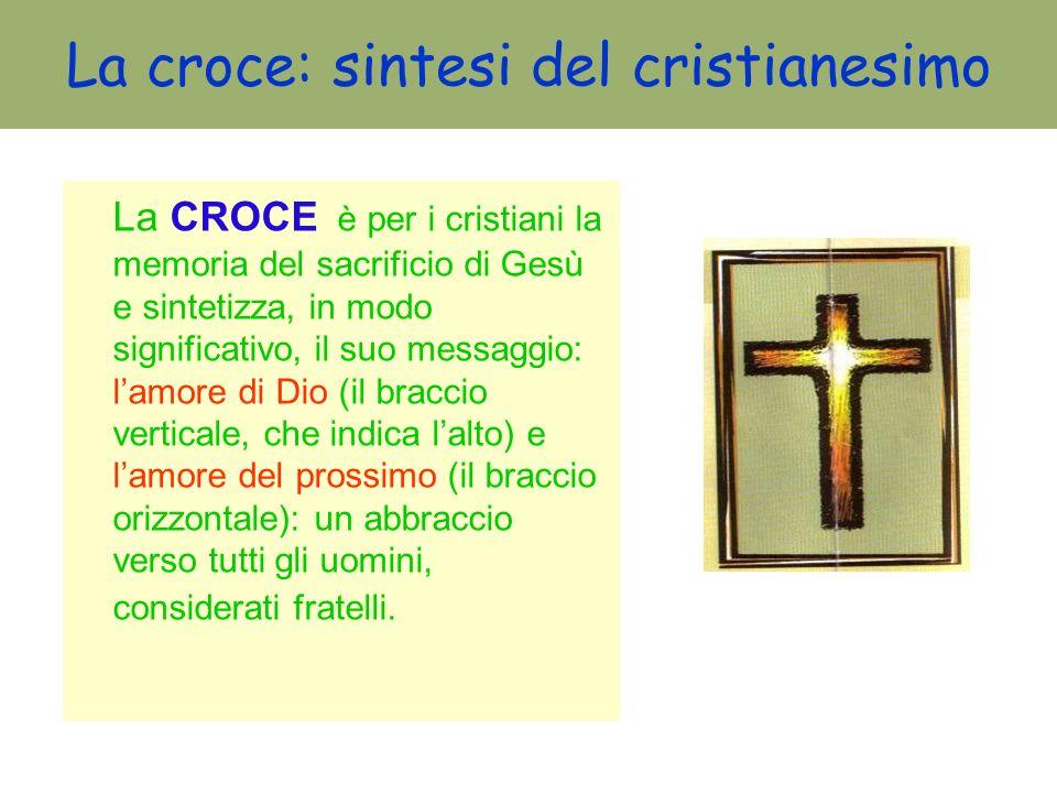 La croce: sintesi del cristianesimo La CROCE è per i cristiani la memoria del sacrificio di Gesù e sintetizza, in modo significativo, il suo messaggio