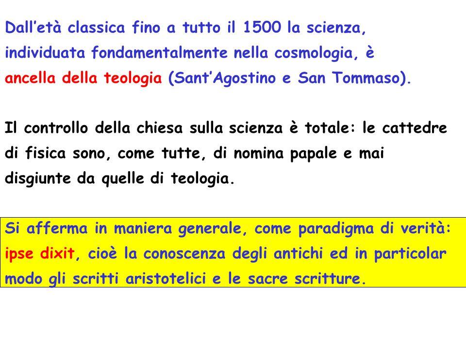 Dalletà classica fino a tutto il 1500 la scienza, individuata fondamentalmente nella cosmologia, è ancella della teologia (SantAgostino e San Tommaso).