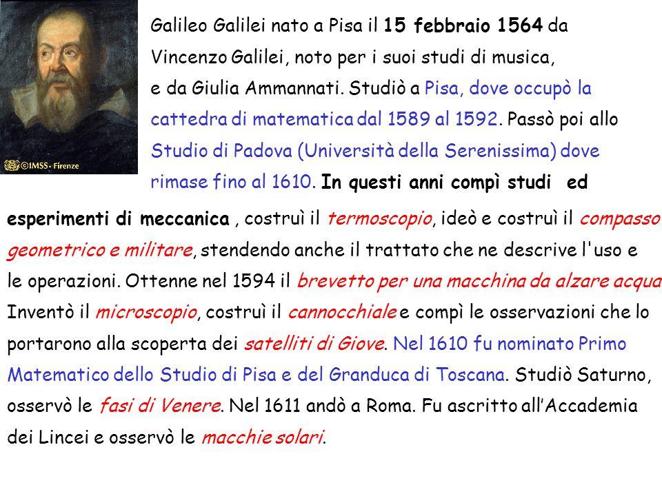 Galileo Galilei nato a Pisa il 15 febbraio 1564 da Vincenzo Galilei, noto per i suoi studi di musica, e da Giulia Ammannati.