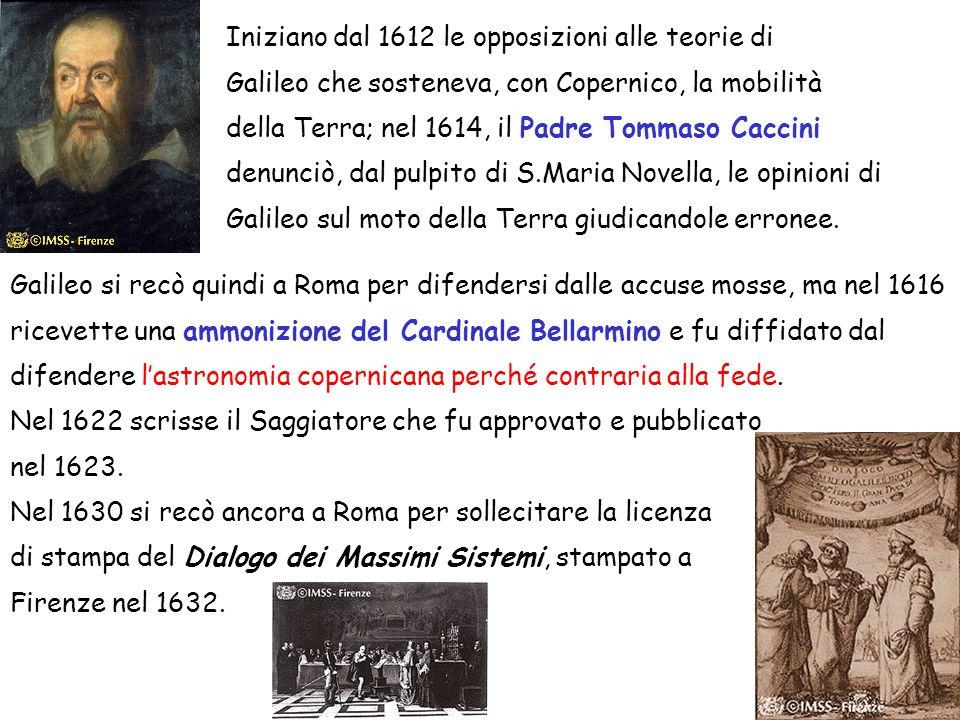 Iniziano dal 1612 le opposizioni alle teorie di Galileo che sosteneva, con Copernico, la mobilità della Terra; nel 1614, il Padre Tommaso Caccini denunciò, dal pulpito di S.Maria Novella, le opinioni di Galileo sul moto della Terra giudicandole erronee.
