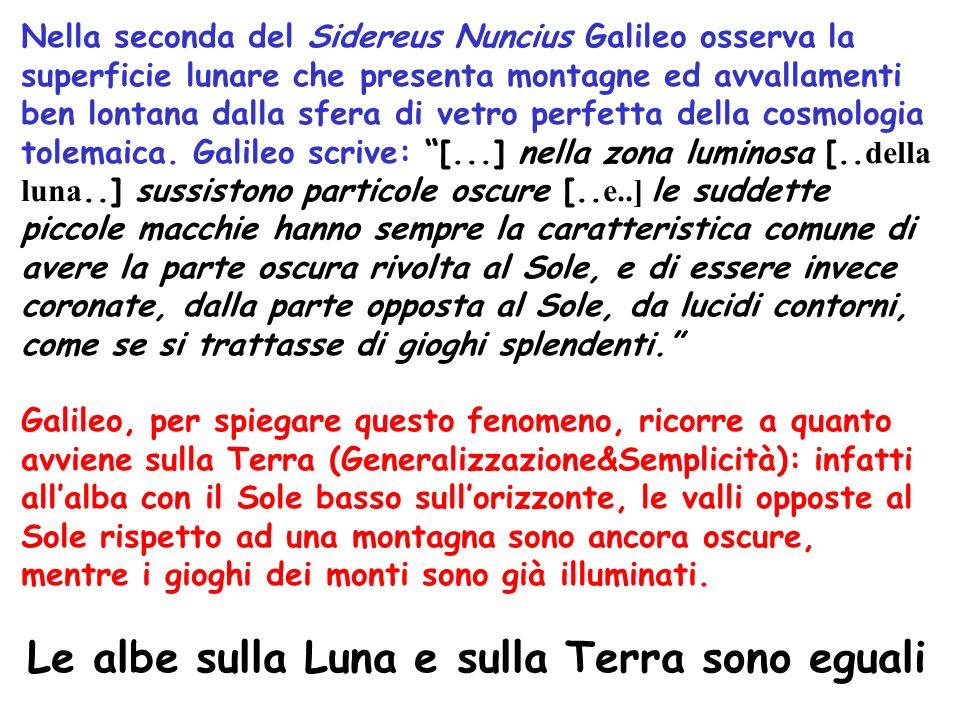 Nella seconda del Sidereus Nuncius Galileo osserva la superficie lunare che presenta montagne ed avvallamenti ben lontana dalla sfera di vetro perfetta della cosmologia tolemaica.