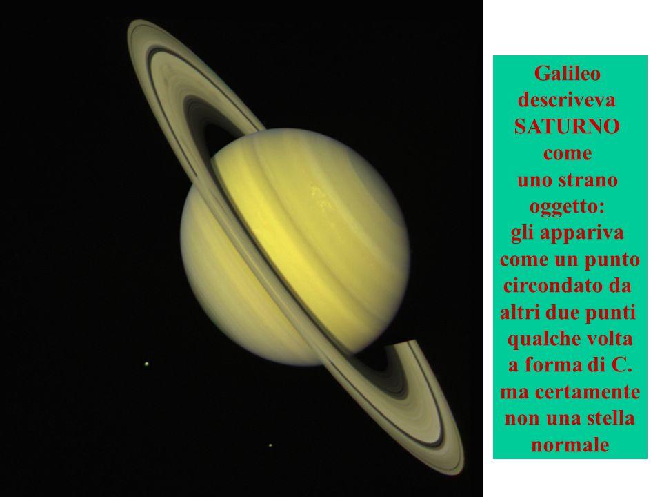 Galileo descriveva SATURNO come uno strano oggetto: gli appariva come un punto circondato da altri due punti qualche volta a forma di C.