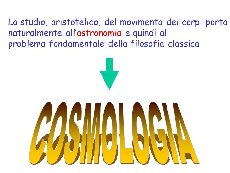 Lo studio, aristotelico, del movimento dei corpi porta naturalmente allastronomia e quindi al problema fondamentale della filosofia classica