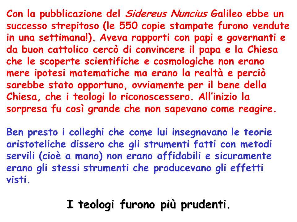 Con la pubblicazione del Sidereus Nuncius Galileo ebbe un successo strepitoso (le 550 copie stampate furono vendute in una settimana!).