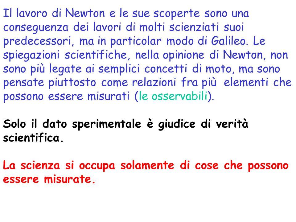Il lavoro di Newton e le sue scoperte sono una conseguenza dei lavori di molti scienziati suoi predecessori, ma in particolar modo di Galileo.