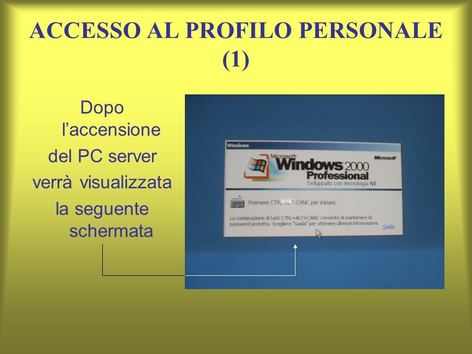 ACCESSO AL PROFILO PERSONALE (1) Dopo laccensione del PC server verrà visualizzata la seguente schermata