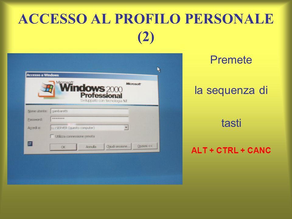 ACCESSO AL PROFILO PERSONALE (2) Premete la sequenza di tasti ALT + CTRL + CANC