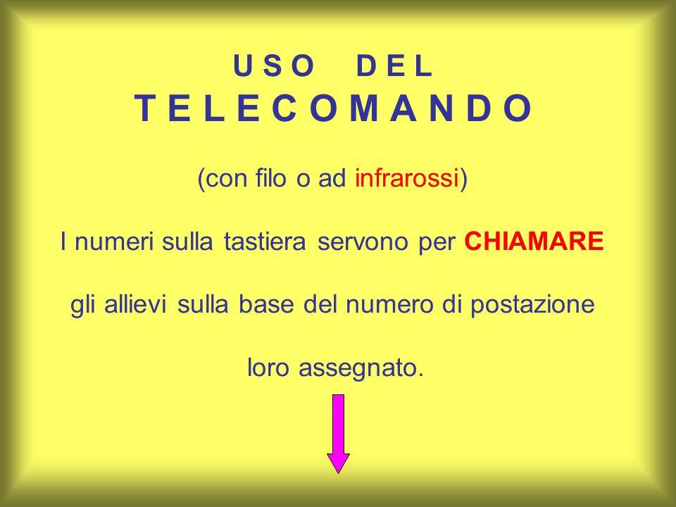 U S O D E L T E L E C O M A N D O (con filo o ad infrarossi) I numeri sulla tastiera servono per CHIAMARE gli allievi sulla base del numero di postazi