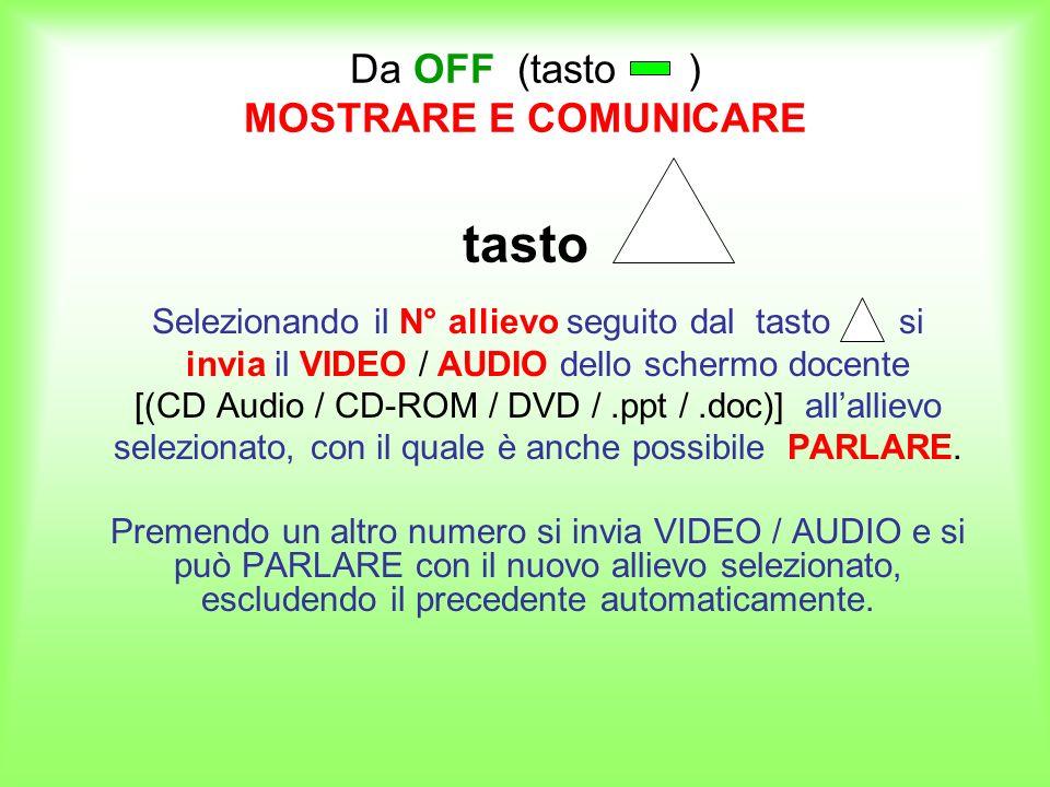 Da OFF (tasto ) MOSTRARE E COMUNICARE tasto Selezionando il N° allievo seguito dal tasto si invia il VIDEO / AUDIO dello schermo docente [(CD Audio /