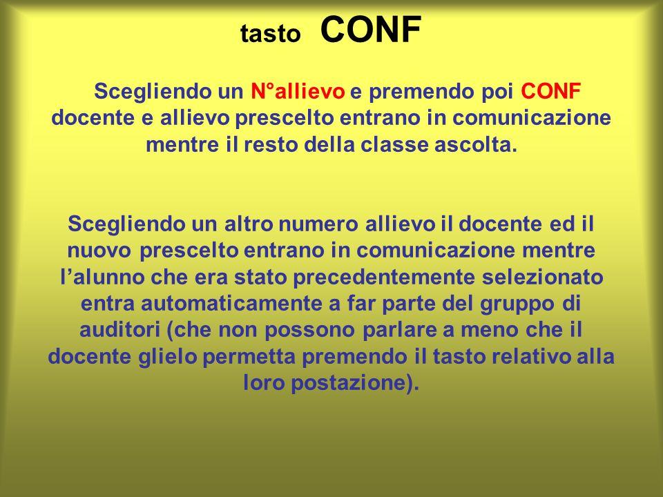 tasto CONF Scegliendo un N°allievo e premendo poi CONF docente e allievo prescelto entrano in comunicazione mentre il resto della classe ascolta. Sceg