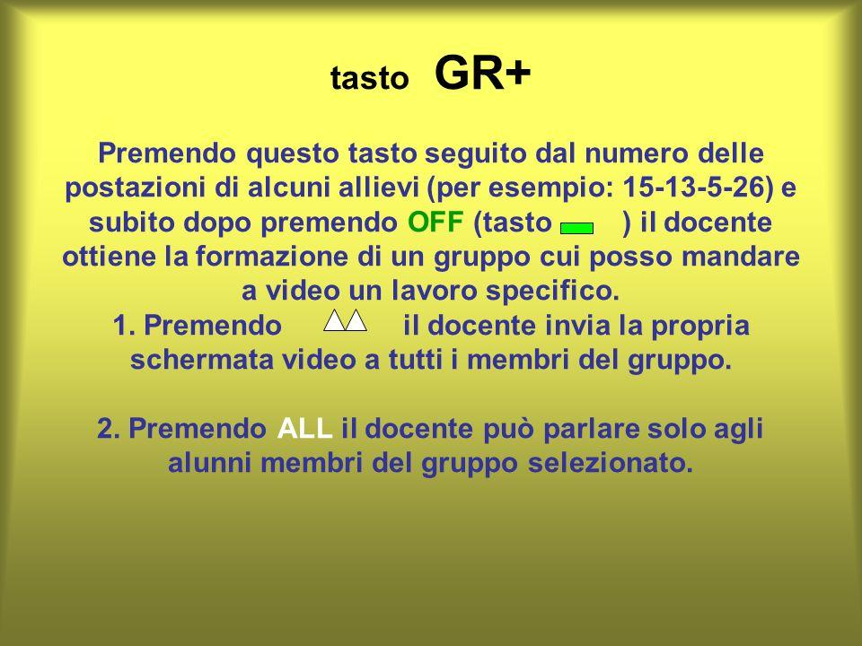 tasto GR+ Premendo questo tasto seguito dal numero delle postazioni di alcuni allievi (per esempio: 15-13-5-26) e subito dopo premendo OFF (tasto ) il