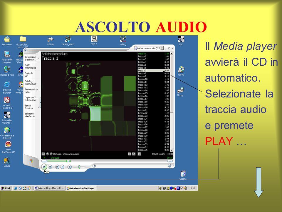 ASCOLTO AUDIO Il Media player avvierà il CD in automatico. Selezionate la traccia audio e premete PLAY …