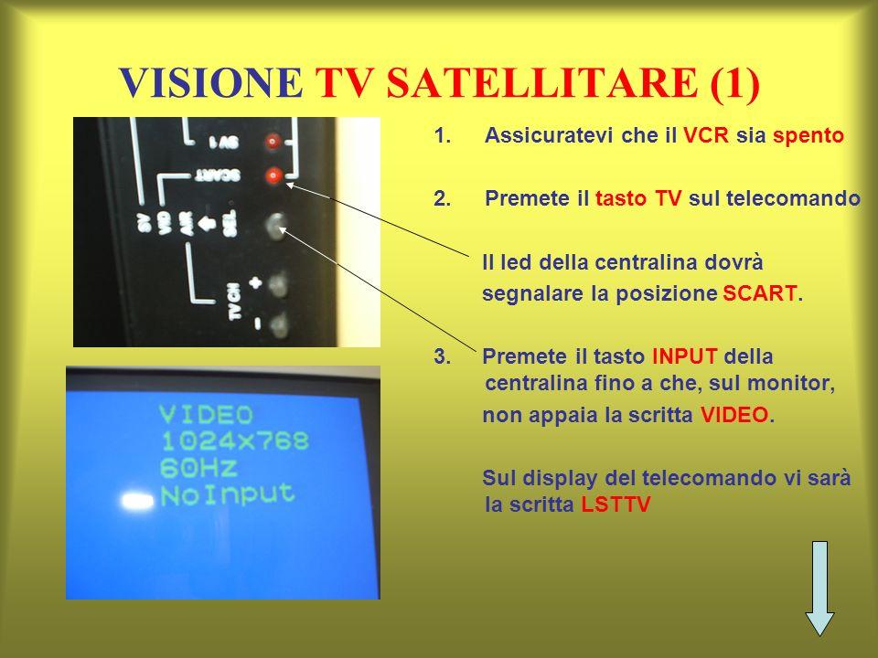 VISIONE TV SATELLITARE (1) 1.Assicuratevi che il VCR sia spento 2.Premete il tasto TV sul telecomando Il led della centralina dovrà segnalare la posiz