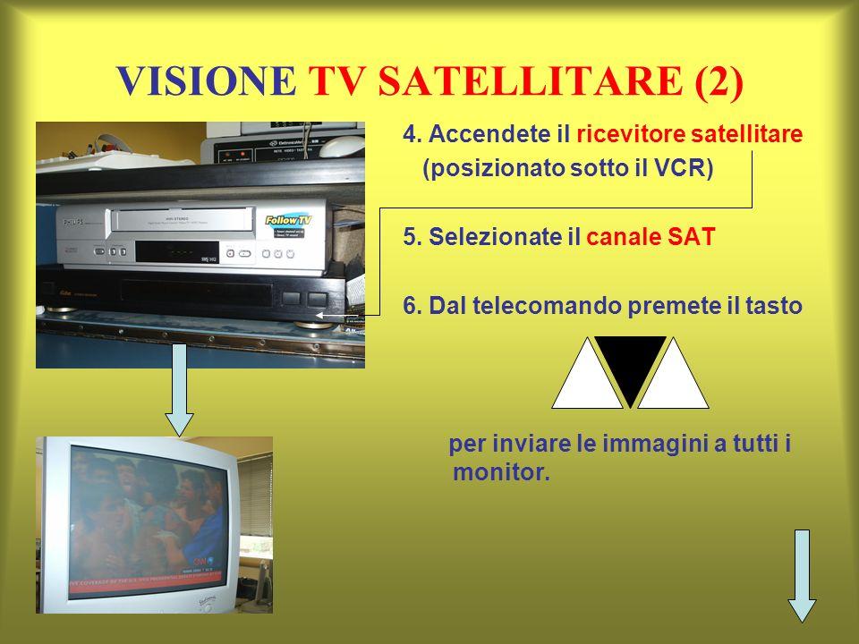VISIONE TV SATELLITARE (2) 4. Accendete il ricevitore satellitare (posizionato sotto il VCR) 5. Selezionate il canale SAT 6. Dal telecomando premete i