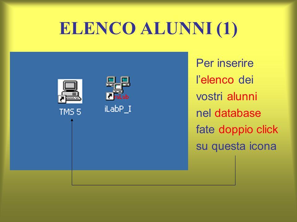 ELENCO ALUNNI (1) Per inserire lelenco dei vostri alunni nel database fate doppio click su questa icona