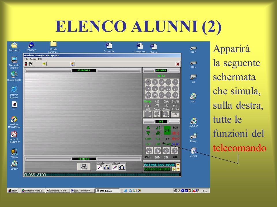 ELENCO ALUNNI (2) Apparirà la seguente schermata che simula, sulla destra, tutte le funzioni del telecomando