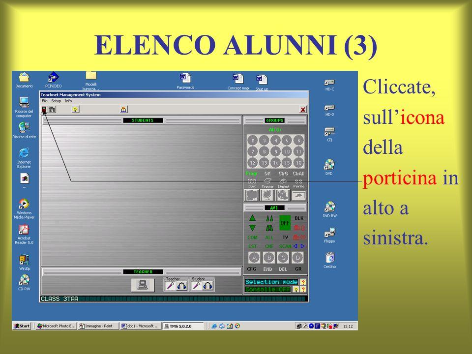 ELENCO ALUNNI (3) Cliccate, sullicona della porticina in alto a sinistra.
