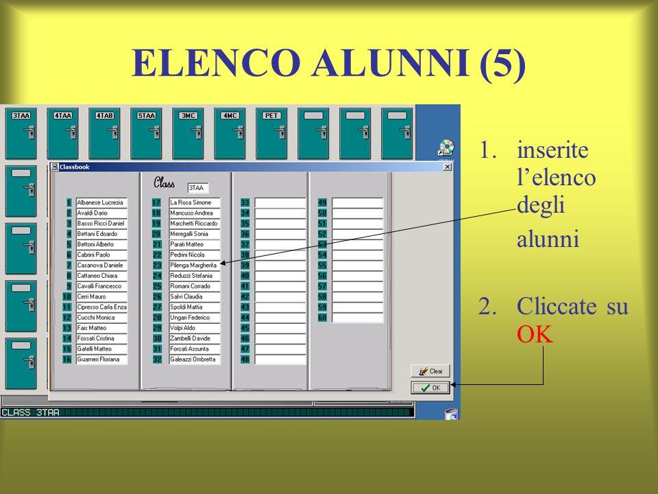 ELENCO ALUNNI (5) 1.inserite lelenco degli alunni 2. Cliccate su OK