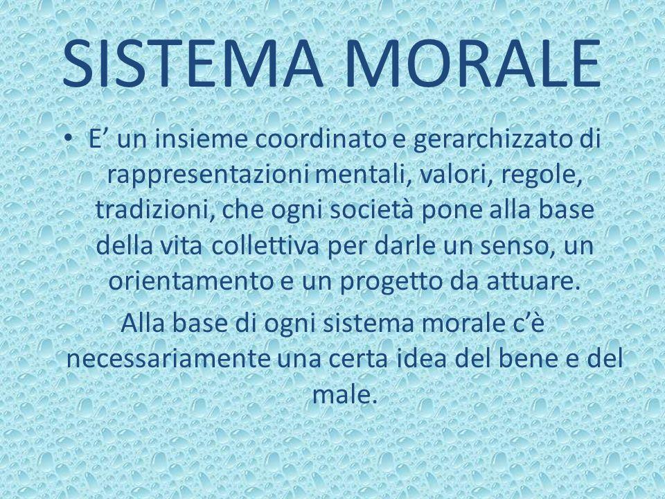 SISTEMA MORALE E un insieme coordinato e gerarchizzato di rappresentazioni mentali, valori, regole, tradizioni, che ogni società pone alla base della
