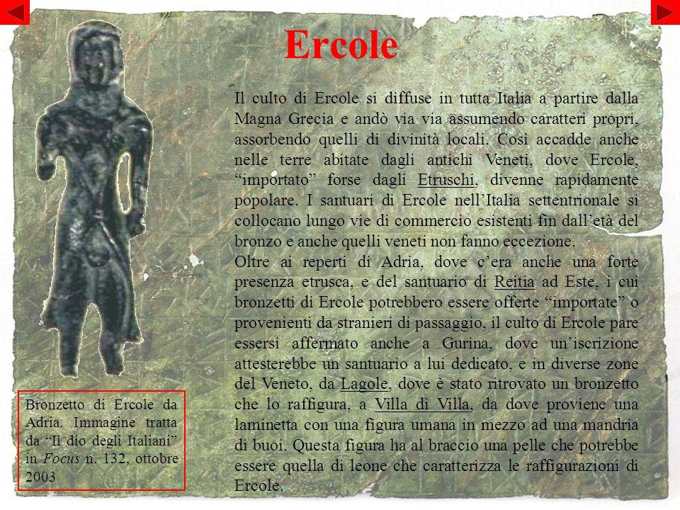 Ercole Bronzetto di Ercole da Adria.Immagine tratta da Il dio degli Italiani in Focus n.