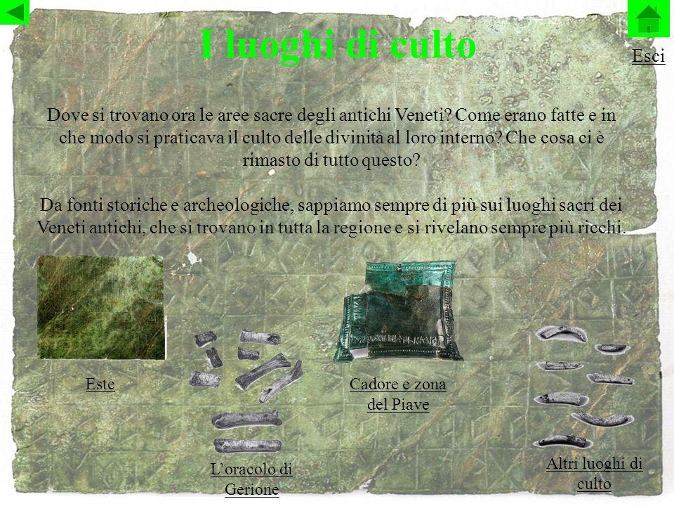 I luoghi di culto Dove si trovano ora le aree sacre degli antichi Veneti.
