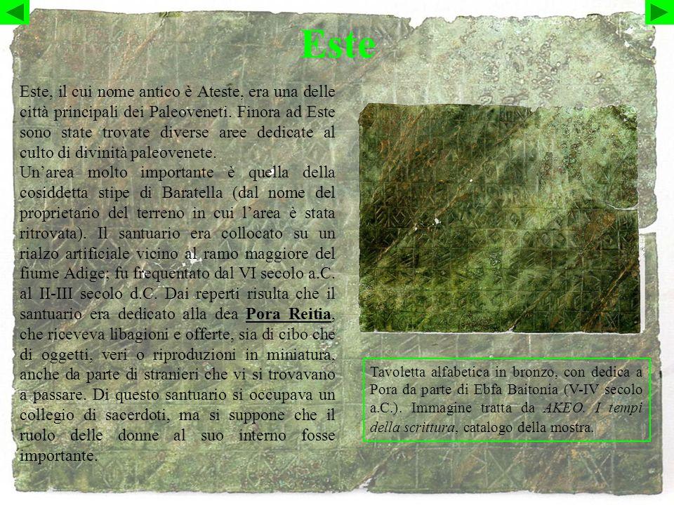 Este Tavoletta alfabetica in bronzo, con dedica a Pora da parte di Ebfa Baitonia (V-IV secolo a.C.).